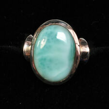 Dominican Republic Larimar Smooth Sterling Silver Ring Size 8