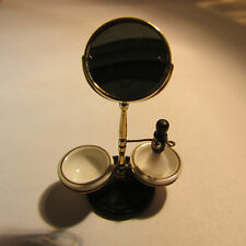 Shaving Mirror Stand ~ with BRUSH & CERAMIC BOWLS ~ Doll House Miniature ~ 1:12