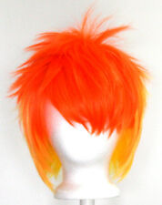 13'' Spiky Short Fiery Blend Orange Yellow Synthetic Cosplay Spitfire Wig NEW