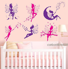 6 MAGIC FAIRY Girls Wall Stickers Kids Bedroom Nursery Removable Vinyl Art Decal