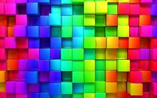 3D ABSTRACT RAINBOW BLOCKS GRAPHICS BRIGHT   Wall Art Canvas Picture 20x30""