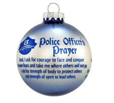 "Glass Police Officer's Special Ornament w/ Encouragement Prayer 3""H Great Gift"