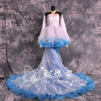 VOCALOID Hatsune Miku Cantarella Costume Cosplay White Blue Dress Customized