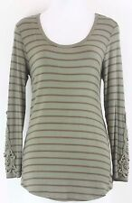 Cha Cha Vente NWT $22 Sz PL Olive Green Brown Beaded Striped Knit Top B75