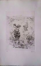 HANS BELLMER Hand Signed in pencil Etching EROTIC WOMEN PAYSAGE  original