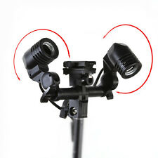 Studio Double E27 Swivel Bulb Socket Umbrella Bracket w/ Flash Hot Shoe Holder
