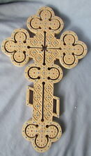 Wall Cross, Pear Wood Inlaid with Multicolored Glass Beads, Carved, Large, 14""