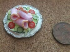 ARTISAN SLICED HAM PLATTER DOLLHOUSE MINIATURE OOAK NEW 1.12 SCALE