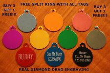 """Custom Engraved DOUBLE SIDED Tag Pet ID  CIRCLE  DOG CAT """"PREMIUM QUALITY"""""""