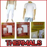 Mens Thermal Underwear Tops T-Shirt Vest Long Johns Long T-Shirt White S-XXL