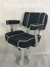 "Captains boat seat  adjustable 360 pedestal, seat height 18"" to 24"" Navy blue"