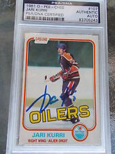 JARI KURRI OILERS HAND SIGNED 1981 O-PEE-CHEE ROOKIE PSA ENCAPSULATED