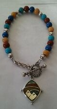 Carolyn Pollack's -Relios Southwest Sterling Silver Multi-Stone Toggle Bracelet!