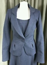 Laura Ashley 1940s Style Blue Dress Suit With Jacket Size 10 EXCELLENT CONDITION