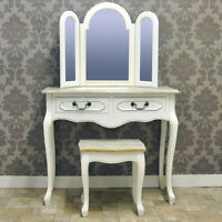 French Style Shabby Chic Antique White Triple Mirror Dressing Table with Stool