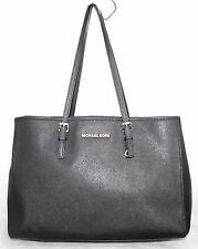 "MICHAEL KORS 14"" Black Saffiano Leather East West Shoulder Tote Shopper Handbag"