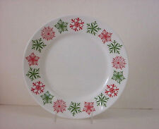 "4 New Corelle Cheerful Flurry Lunch Plates 8-1/2"" Luncheon Snowflakes Red Green"