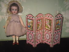 FINAL SALE! EXQUISITE FRENCH ONE-OF-KIND ARTISAN MINIATURE FOLDING DOLL SCREEN!