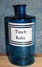 """BOCAL ANCIEN DE PHARMACIE EN VERRE """" TINCT: KOLAE """" ( H 22 cm D 9 cm )"""