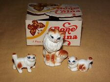 VINTAGE CAT & 2 KITTENS BONE CHINA 3 PIECE SET