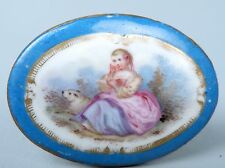 Antique Small Celeste Bleu Sevres Type French Porcelain Plaque - Girl Maiden PC