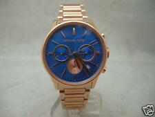 SALE: Authentic Michael Kors Bailey MK5911 Chronograph Rose Gold Blue Dial Watch