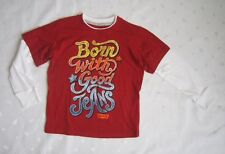 LEVI'S Boys 100% Cotton Raglan Long Sleeves Red / Cream Graphic T-shirt Size 4T