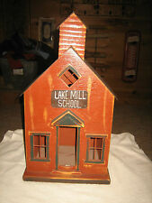 "PRIMITIVE VINTAGE WOODEN LIGHTED SCHOOL HOUSE WITH METAL ROOF APPROX. 21 3/4"" T"