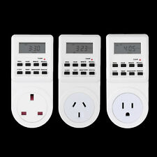 7 Day Digital Electronic LCD Plug-in 12/24 Hour Timer Switch Plug Socket SV