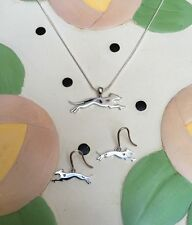 Greyhound Sterling Silver Necklace and Earrings Gift Set - New - FREE SHIPPING