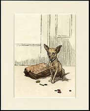CHIHUAHUA NAUGHTY LITTLE DOG AND LADIES PURSE CUITE PRINT MOUNTED READY TO FRAME