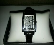 Tommy Hilfiger Woman's Watch Rectangle Leather Band Silver Face