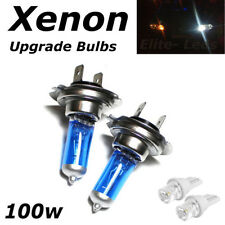 H7 100w SUPER WHITE XENON (499) HID Upgrade Head Light Bulbs 12v + 1 Led W5W T10