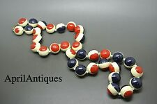Vintage art deco painted red blue white ball beaded necklace