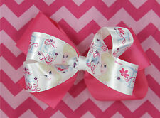 Elsa Hot Pink Hair Bow for Girl's Frozen Double Layered Grosgrain Girl Hair Bows