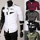 Mens Collar Business Dress Slim Fit T-Shirts Stylish Casual Formal Tee Top M-3XL