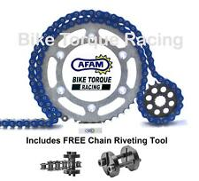 Yamaha YFM700R Raptor Quad 05-13 AFAM Blue Chain & Sprocket Kit + Rivet Tool