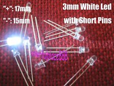 1000pcs, New 3mm White Round 12000MCD Bright Water Clear LED Lights Short Pins