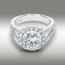 3.44 CT Round Cut Halo Engagement Ring Split Shank Pave Setting 14K White Gold