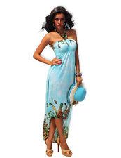 """Sexy """"JAPANESE BLUE BUTTERFLIES"""" Bond Girl Fantasy Maxi Evening Dress - New"""