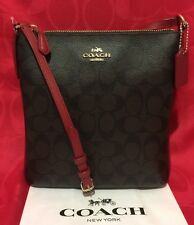 NEW COACH SIGNATURE PVC NS CROSSBODY BAG  BROWN/TRUE RED F35940 $195