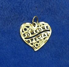 14K Solid Yellow Gold SOMEONE SPECIAL Heart Pendant or Charm, Michael Anthony