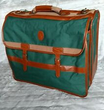 """Vtg Ralph Lauren Green & Leather Luggage 20""""x16"""" Suitcase & Front Compartment"""