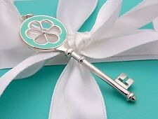 Tiffany Sterling Silver Diamond Blue Enamel Blossom Key Pendant