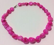 Vibrant Pink Mother of Pearl MOP Necklace Shell Strand Shiny Beads Handcrafted