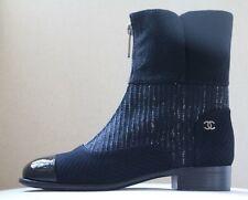Chanel noir tweed cuir verni cap toe zip front boots eu 38.5 uk 5.5 us 8.5