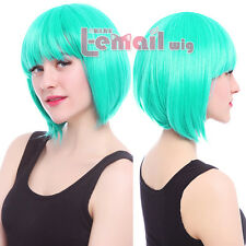 Women's Fashion Bob/Teal Green Short Straight BOBO Hairstyle Wig with Cap ML162