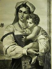 Sonchou PORTRAIT of ITALIAN MOTHER & CHILD Butterfly 1871 Antique Print Matted