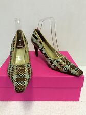 MULBERRY DUCK EGG & BEIGE,BROWN & TAN WEAVE LEATHER HEELS SIZE 6/39.5