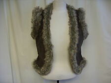 "Ladies Gilet Frida G, faux fur & faux suede, brown, bust 32-34"", length 20"" 0324"